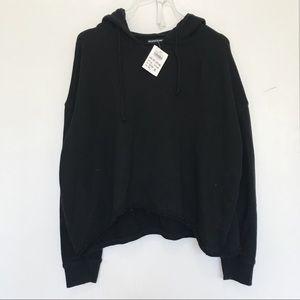 Brandy Melville black knit drawstring hoodie